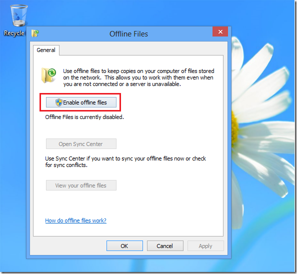 How-to Enable offline files in Windows 7
