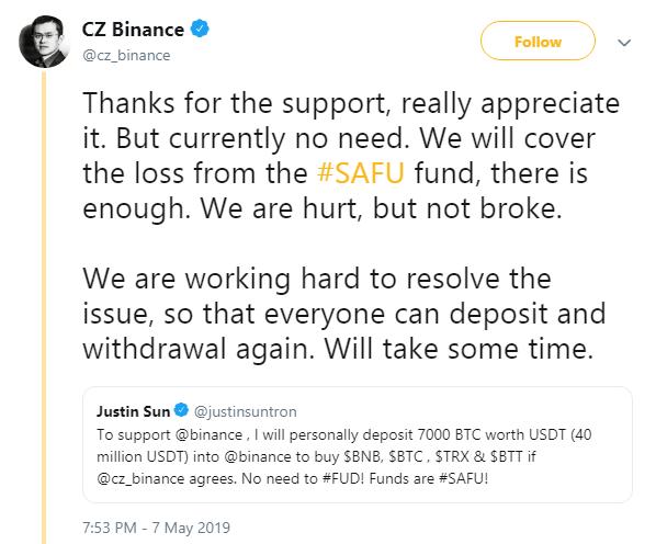 Hacking of Binance Bitcoin